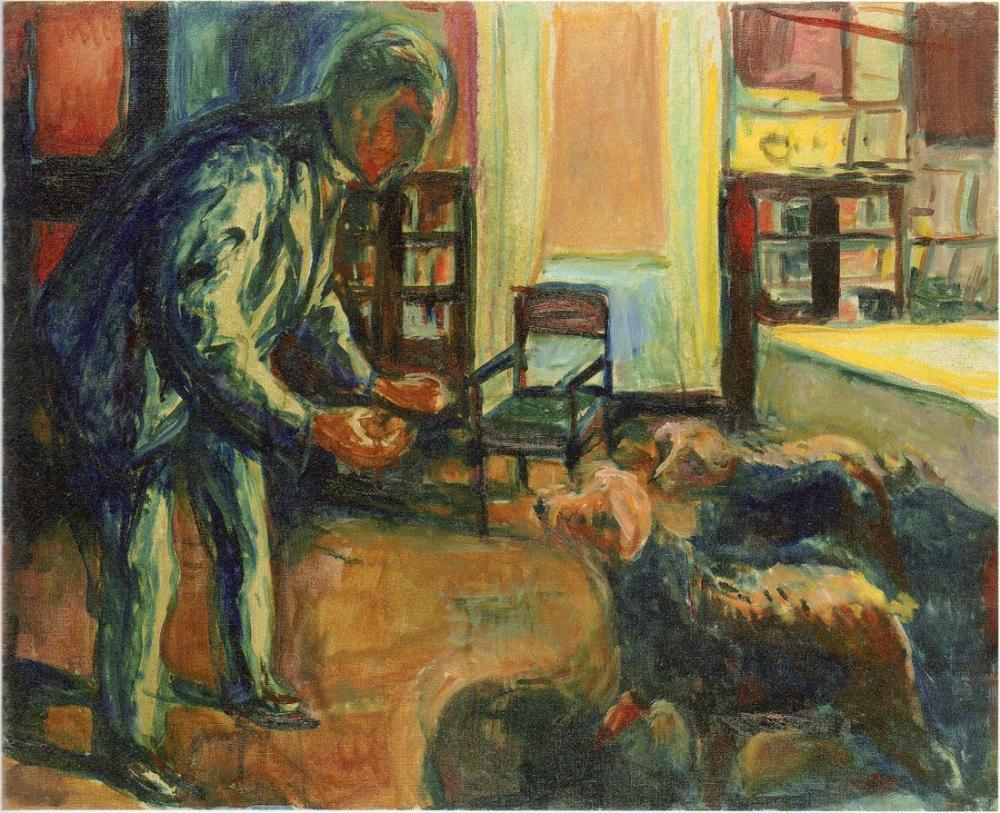 Edvard Munch Köpeklerle Otoportre, Kanvas Tablo, Edvard Munch, kanvas tablo, canvas print sales