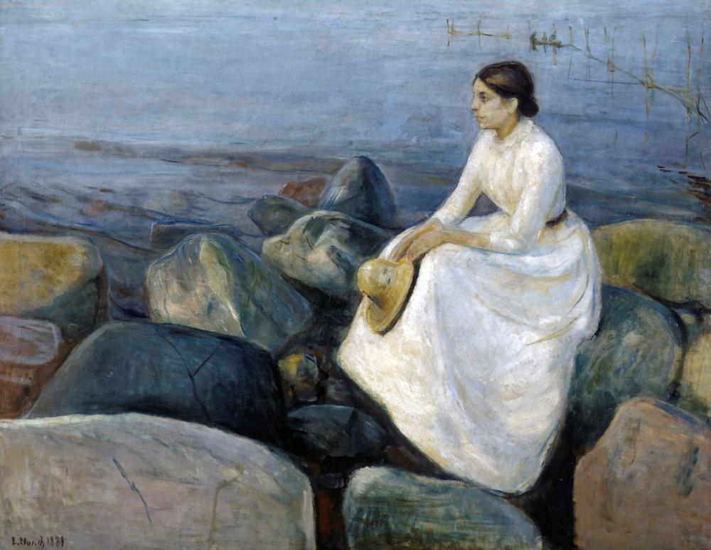Edvard Munch Summer Night Inger On The Beach, Canvas, Edvard Munch, kanvas tablo, canvas print sales