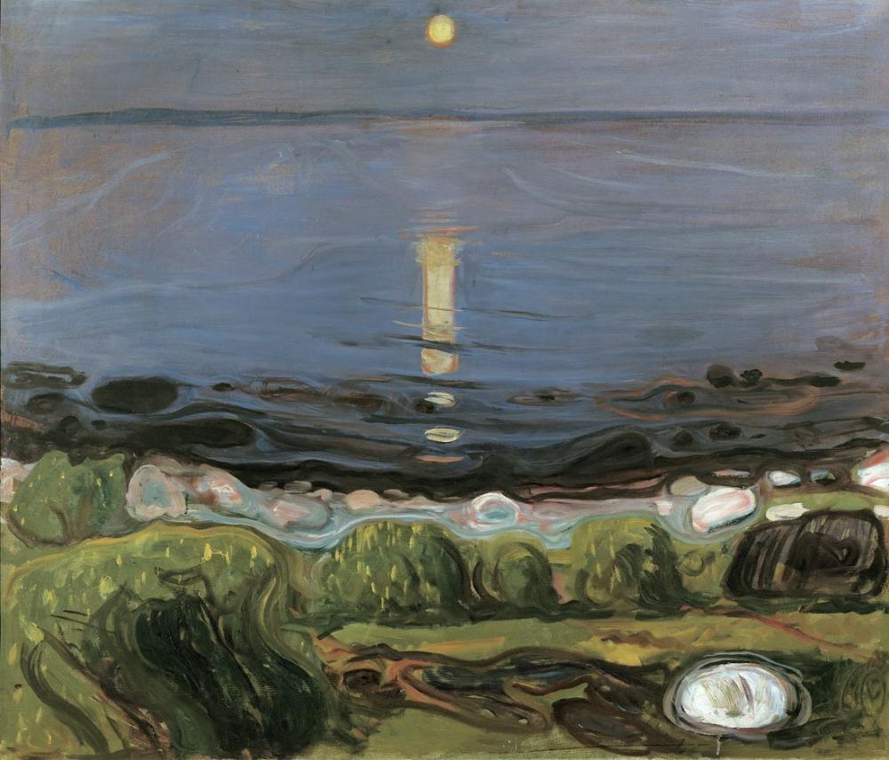 Edvard Munch Sahilde Yaz Gecesi, Kanvas Tablo, Edvard Munch, kanvas tablo, canvas print sales