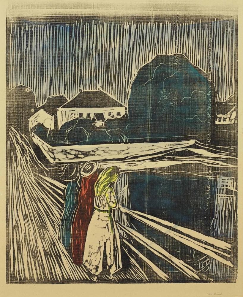 Edvard Munch İskelede Kızlar Gravür, Kanvas Tablo, Edvard Munch, kanvas tablo, canvas print sales