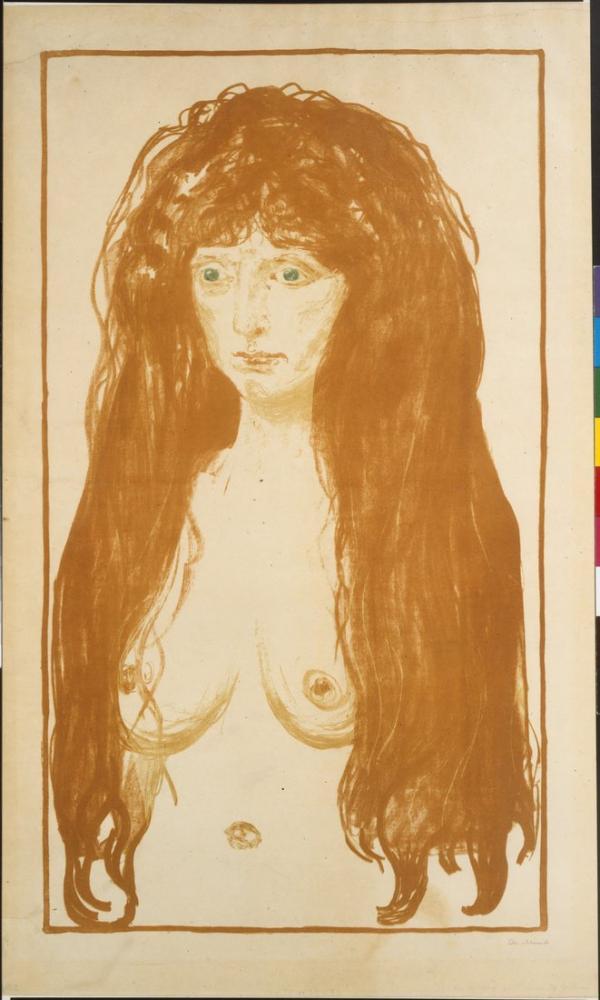 Edvard Munch Kızıl Saçlı Ve Yeşil Gözlü Kadın Günah, Kanvas Tablo, Edvard Munch, kanvas tablo, canvas print sales