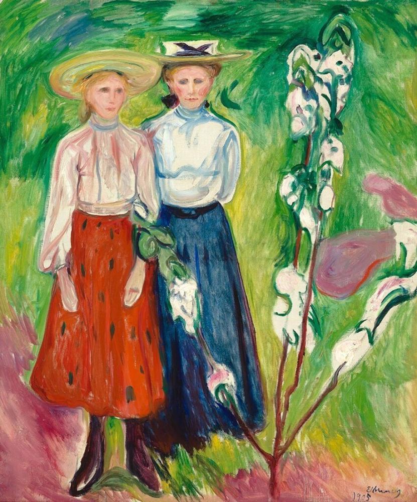 Edvard Munch Bir Elma Ağacı Altında İki Kız Bloom Boijmans, Kanvas Tablo, Edvard Munch, kanvas tablo, canvas print sales