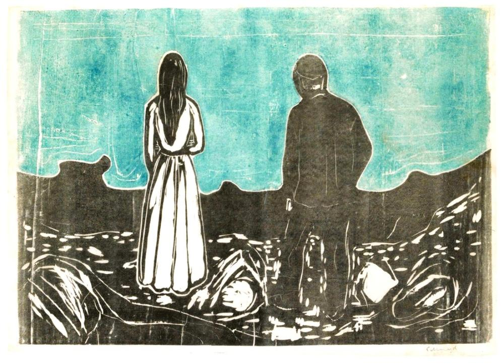 Edvard Munch Two Human Beings The Lonely Ones II, Canvas, Edvard Munch, kanvas tablo, canvas print sales