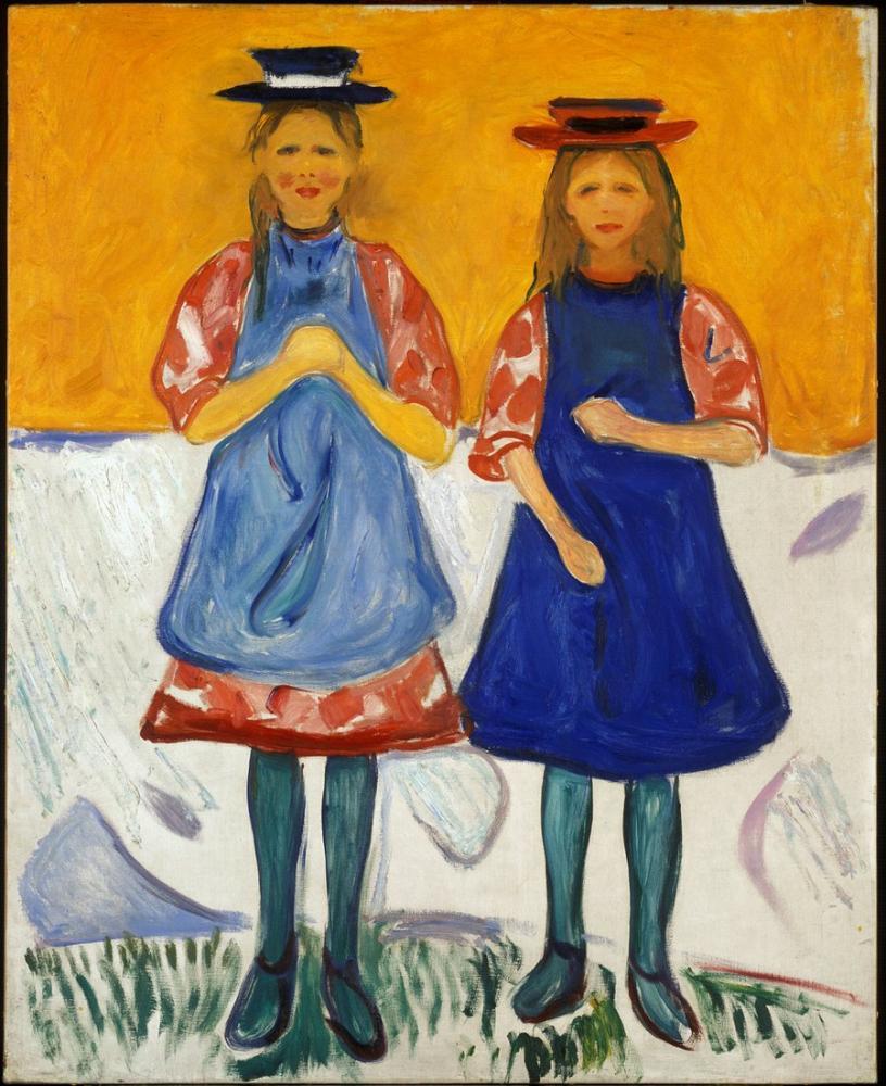 Edvard Munch Mavi Önlük İle İki Küçük Kız, Kanvas Tablo, Edvard Munch, kanvas tablo, canvas print sales