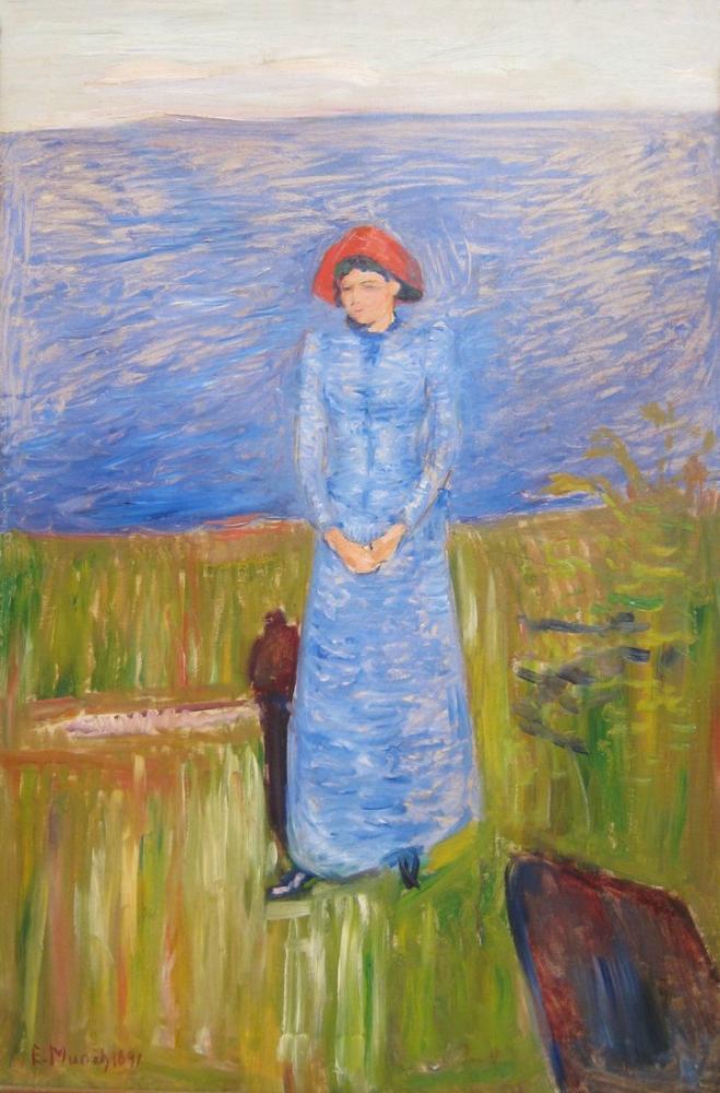 Edvard Munch  Woman in Blue against Blue Water, Canvas, Edvard Munch, kanvas tablo, canvas print sales