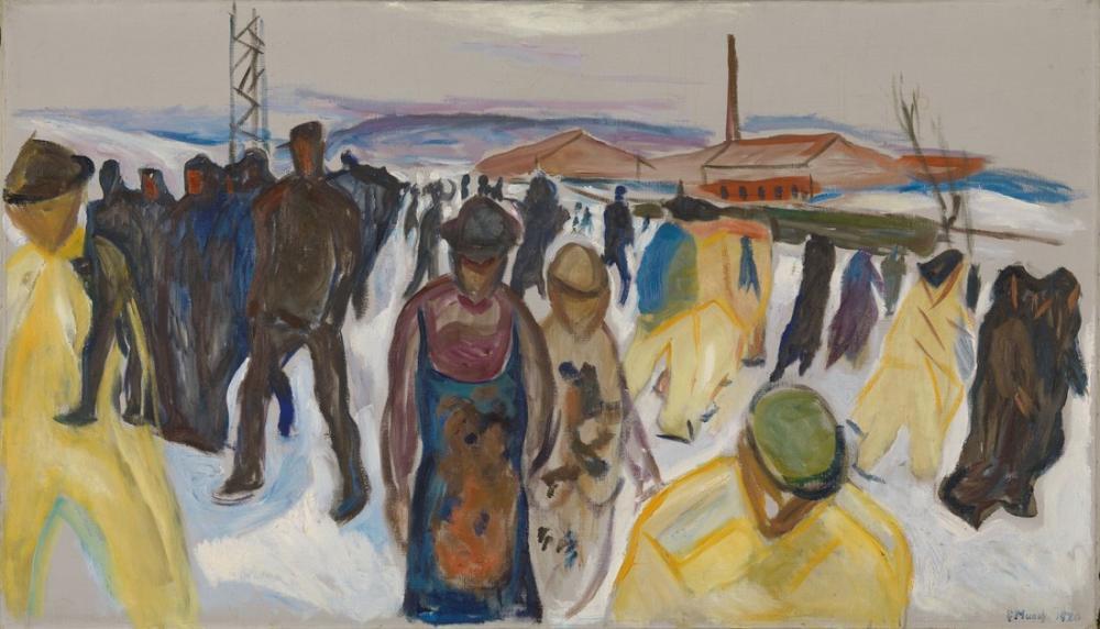 Edvard Munch Eve Dönen İşçiler, Kanvas Tablo, Edvard Munch, kanvas tablo, canvas print sales