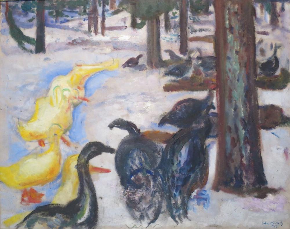 Edvard Munch Ördekler ve Hindiler, Kanvas Tablo, Edvard Munch, kanvas tablo, canvas print sales