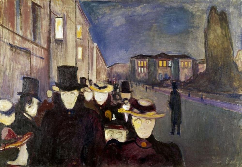 Edvard Munch Akşam Karl Johan Caddesi, Kanvas Tablo, Edvard Munch, kanvas tablo, canvas print sales
