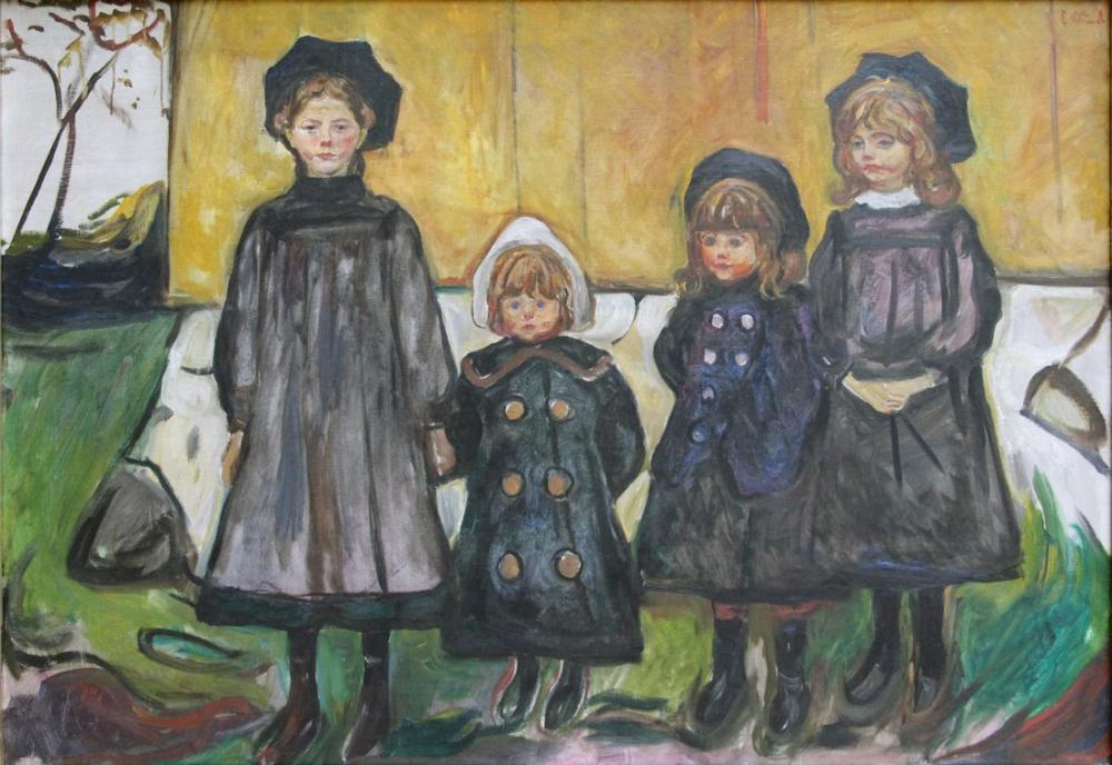 Edvard Munch Four Girls In Asgardstrand, Canvas, Edvard Munch, kanvas tablo, canvas print sales