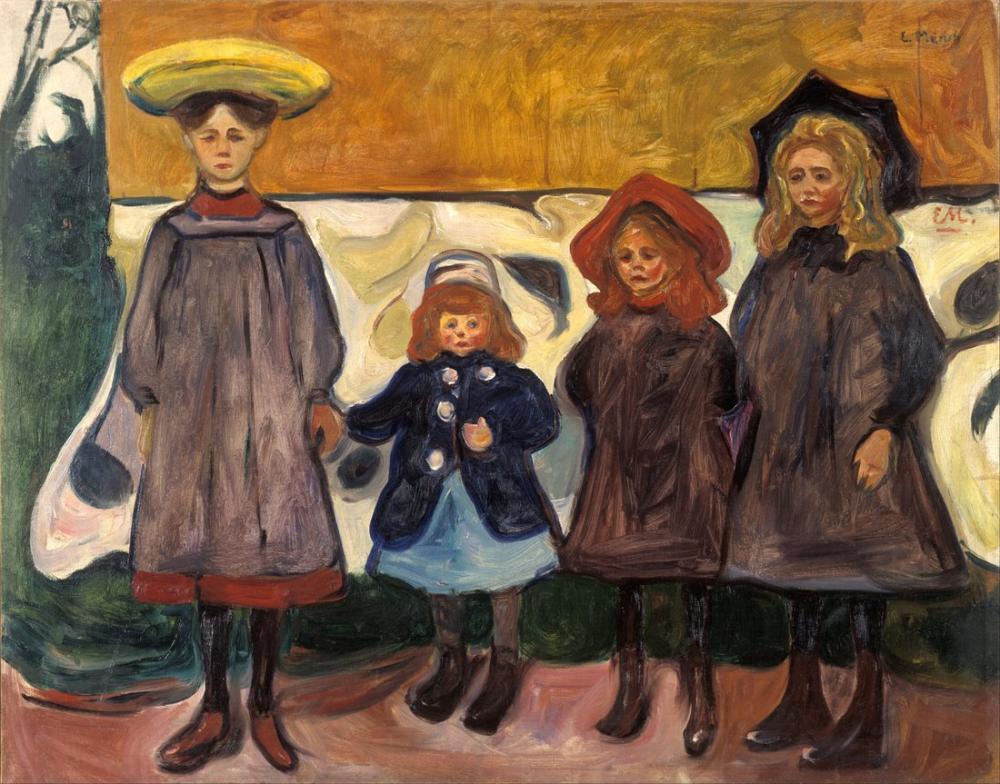 Edvard Munch Dört Kız Asgardstrand II, Kanvas Tablo, Edvard Munch, kanvas tablo, canvas print sales