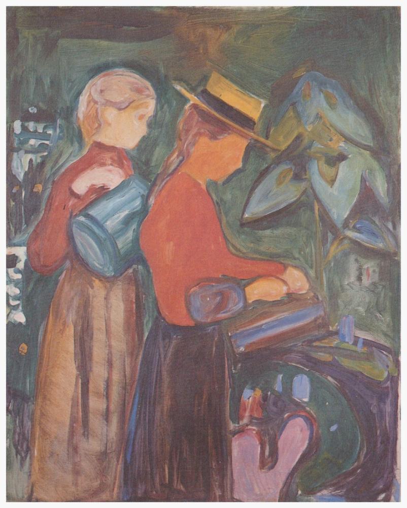 Edvard Munch Girl On The Bridge Girl At The Flower Casting Linde Frieze, Canvas, Edvard Munch, kanvas tablo, canvas print sales