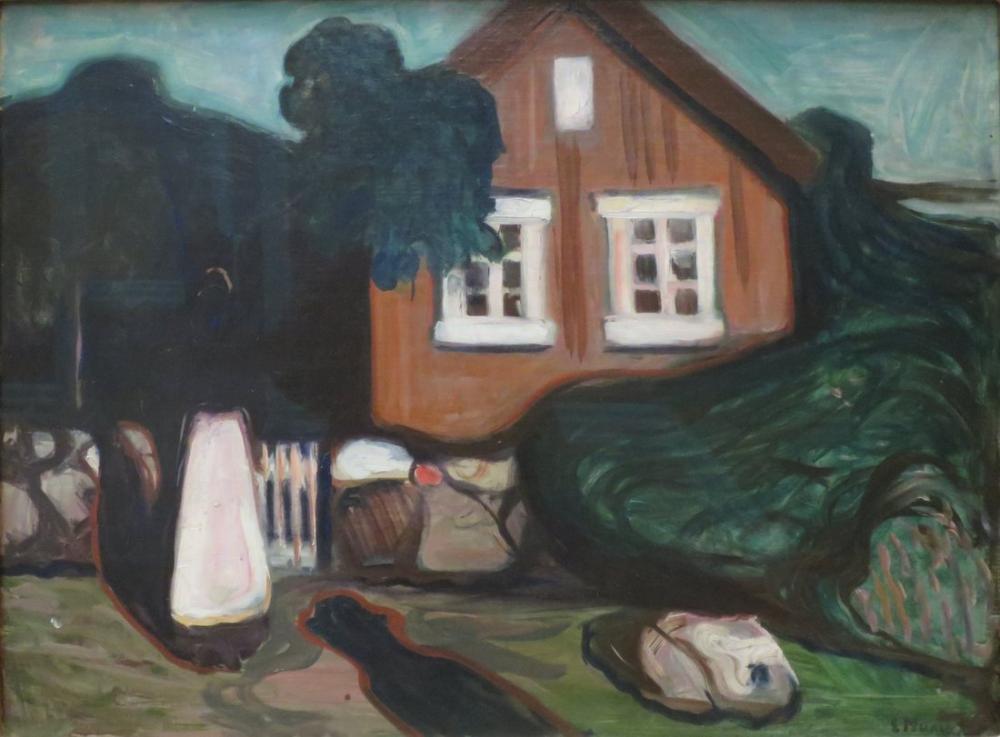 Edvard Munch Ay Işığında Ev, Kanvas Tablo, Edvard Munch, kanvas tablo, canvas print sales