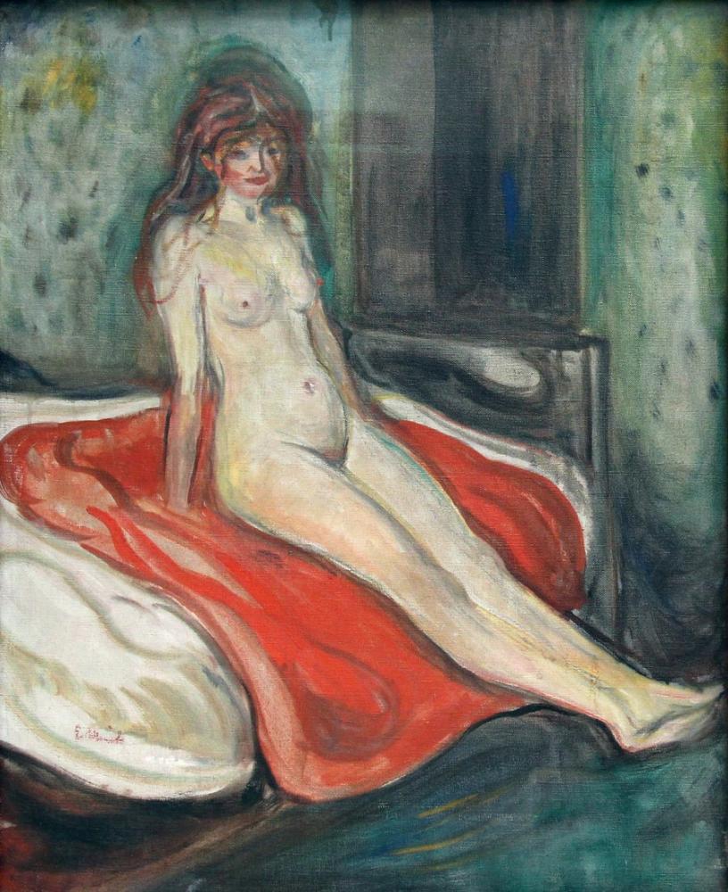 Edvard Munch Kız Yatakta Çıplak Oturuyor, Kanvas Tablo, Edvard Munch, kanvas tablo, canvas print sales