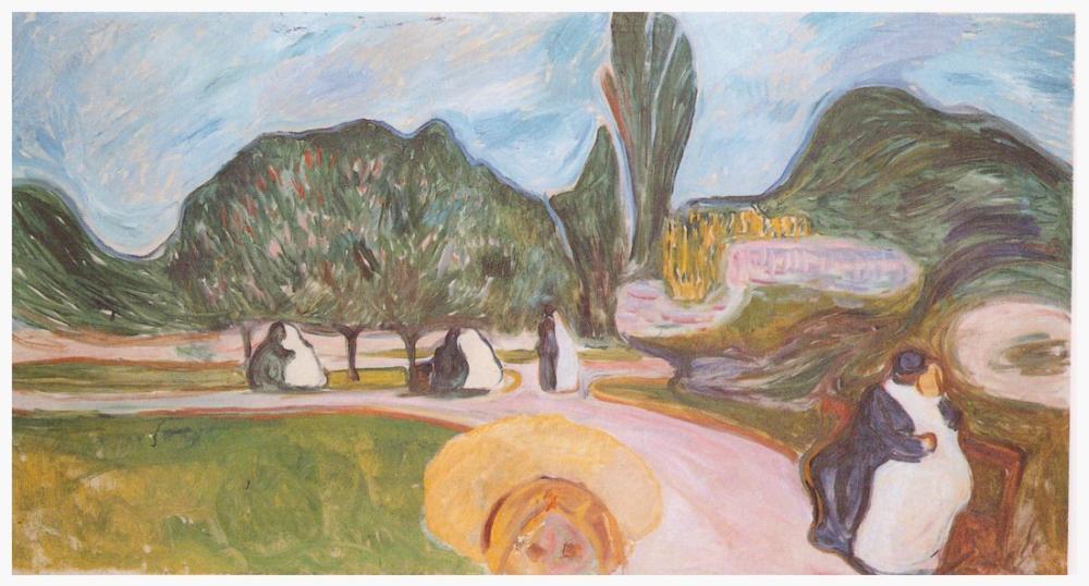 Edvard Munch Parktaki Çift Aşık Linde Frieze, Kanvas Tablo, Edvard Munch, kanvas tablo, canvas print sales