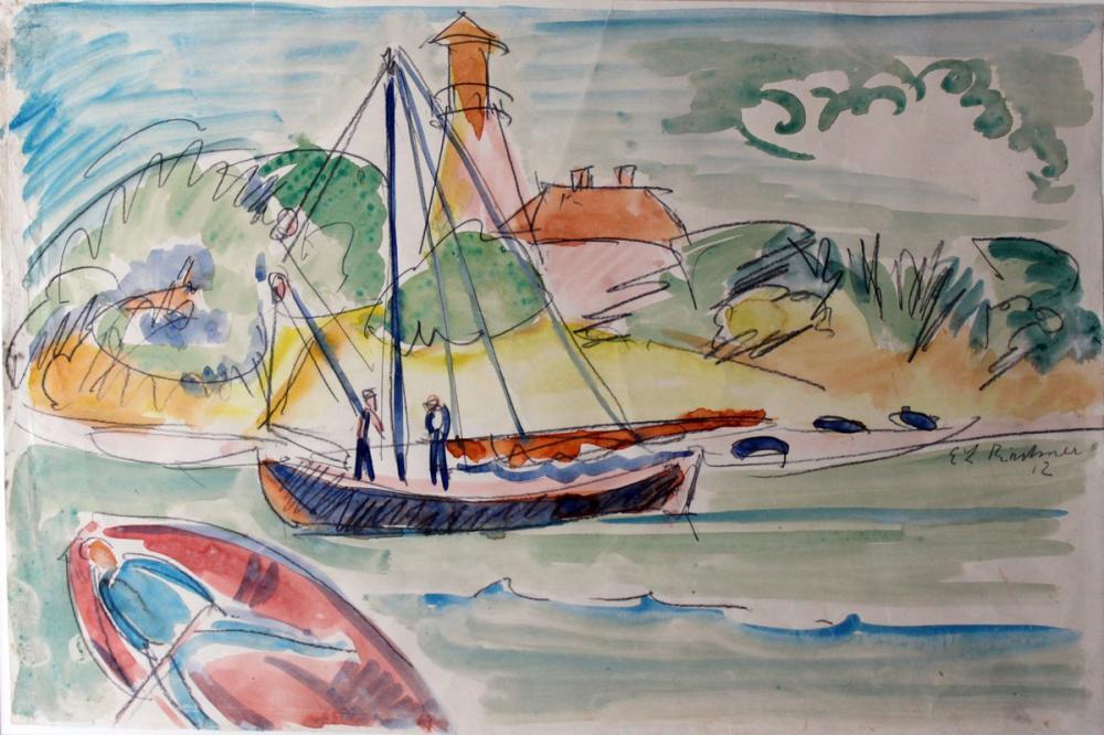 Ernst Ludwig Kirchner, Fehmarnküste mit Leuchtturm, Figure, Ernst Ludwig Kirchner, kanvas tablo, canvas print sales
