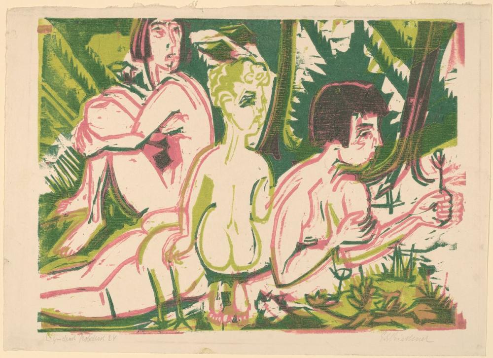 Ernst Ludwig Kirchner, Ormanda Bir Çocuk ile Çıplak Kadınlar, Figür, Ernst Ludwig Kirchner, kanvas tablo, canvas print sales