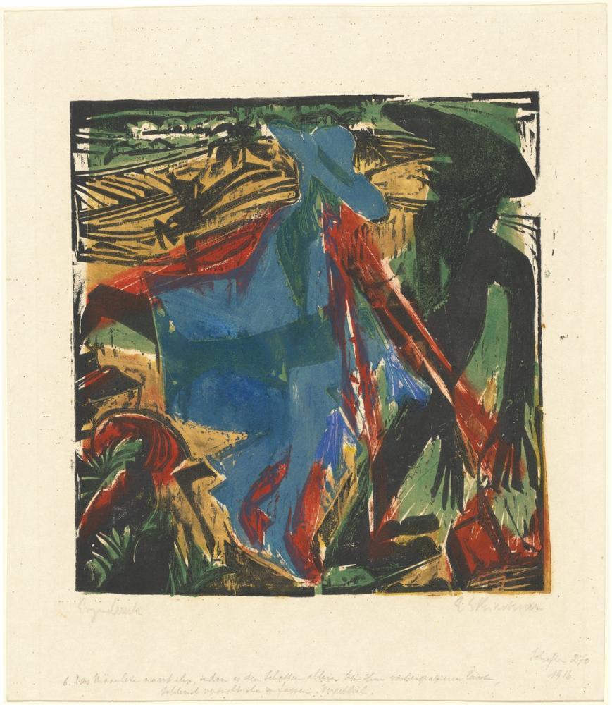 Ernst Ludwig Kirchner, Peter Schlemihl in Harika Hikayesi Schlemihl in Gölgesiyle Buluşması, Figür, Ernst Ludwig Kirchner, kanvas tablo, canvas print sales