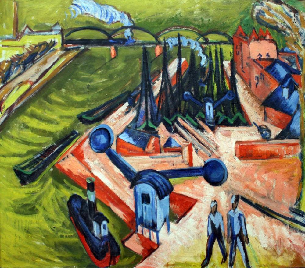 Ernst Ludwig Kirchner, Frankfurt Batı Limanı, Figür, Ernst Ludwig Kirchner, kanvas tablo, canvas print sales