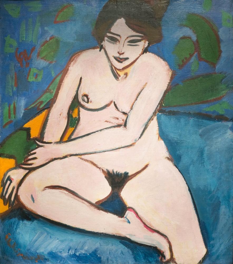 Ernst Ludwig Kirchner, Akt auf blauem Grund, Figure, Ernst Ludwig Kirchner, kanvas tablo, canvas print sales