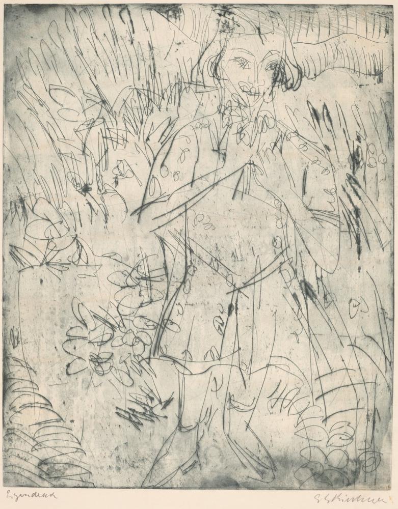 Ernst Ludwig Kirchner, Çiçekler ile Kız, Figür, Ernst Ludwig Kirchner, kanvas tablo, canvas print sales