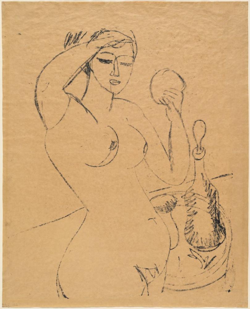 Ernst Ludwig Kirchner, Çıplak Kız Onun Tuvaletinde, Figür, Ernst Ludwig Kirchner, kanvas tablo, canvas print sales