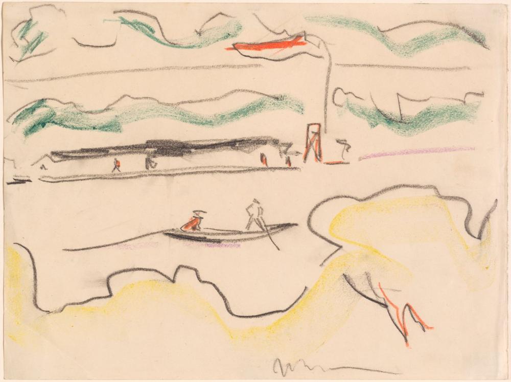 Ernst Ludwig Kirchner, Elbe Landscape Near Dresden, Figure, Ernst Ludwig Kirchner, kanvas tablo, canvas print sales