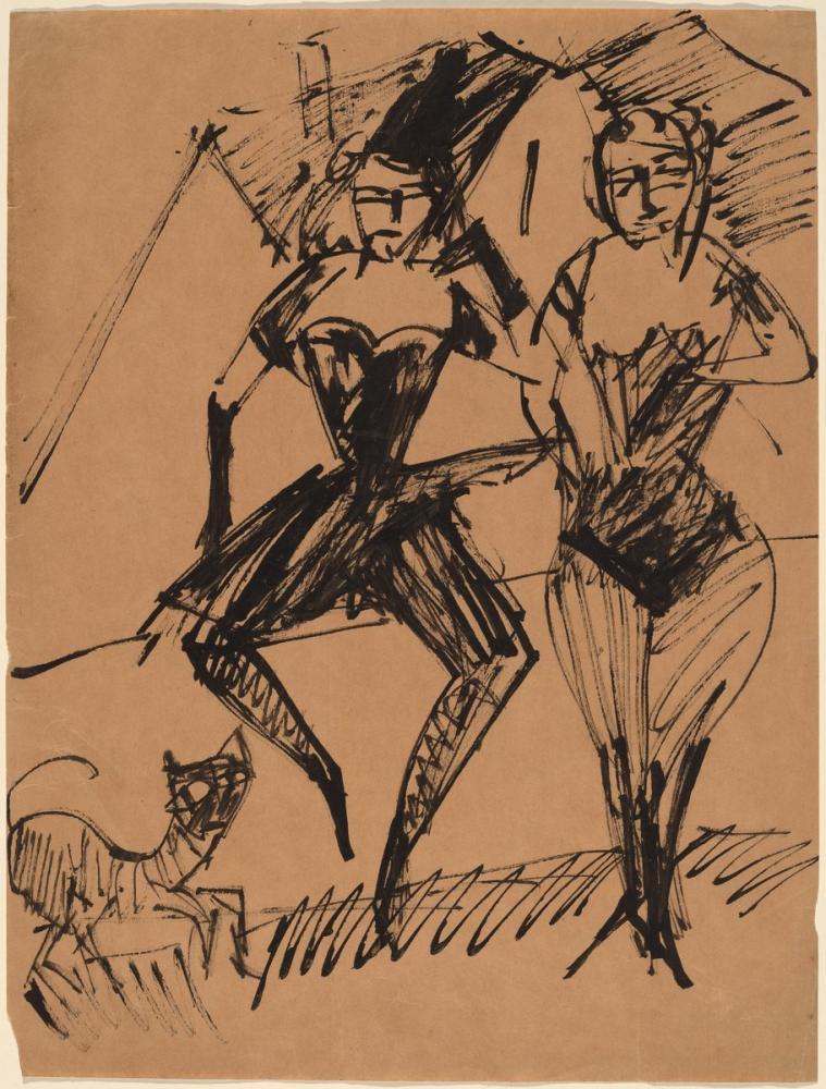 Ernst Ludwig Kirchner, Bir Kedi ile İki Dansçı, Figür, Ernst Ludwig Kirchner, kanvas tablo, canvas print sales