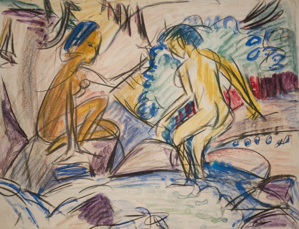 Ernst Ludwig Kirchner, Bir Dağ Deresi İçinde İki Yıkanan, Figür, Ernst Ludwig Kirchner, kanvas tablo, canvas print sales