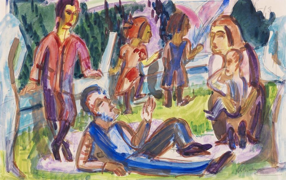 Ernst Ludwig Kirchner, Piknik, Figür, Ernst Ludwig Kirchner, kanvas tablo, canvas print sales
