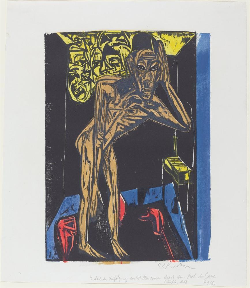 Ernst Ludwig Kirchner, Peter Schlemihl in Odasının Yalnızlığında Harika Hikayesi, Figür, Ernst Ludwig Kirchner, kanvas tablo, canvas print sales