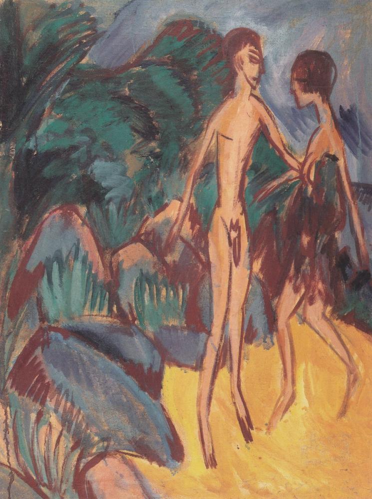 Ernst Ludwig Kirchner, Nackter Jüngling und Mädchen am Strand, Figure, Ernst Ludwig Kirchner, kanvas tablo, canvas print sales