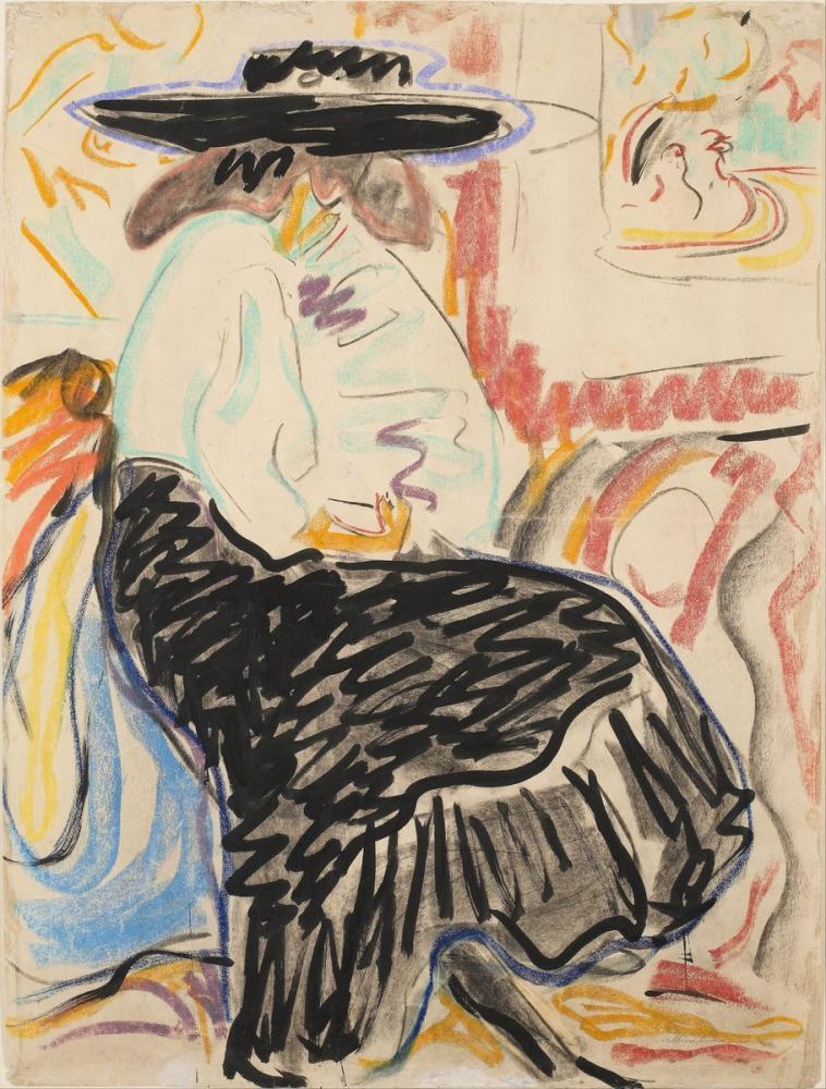 Ernst Ludwig Kirchner, Stüdyoda Oturan Kadın, Figür, Ernst Ludwig Kirchner, kanvas tablo, canvas print sales