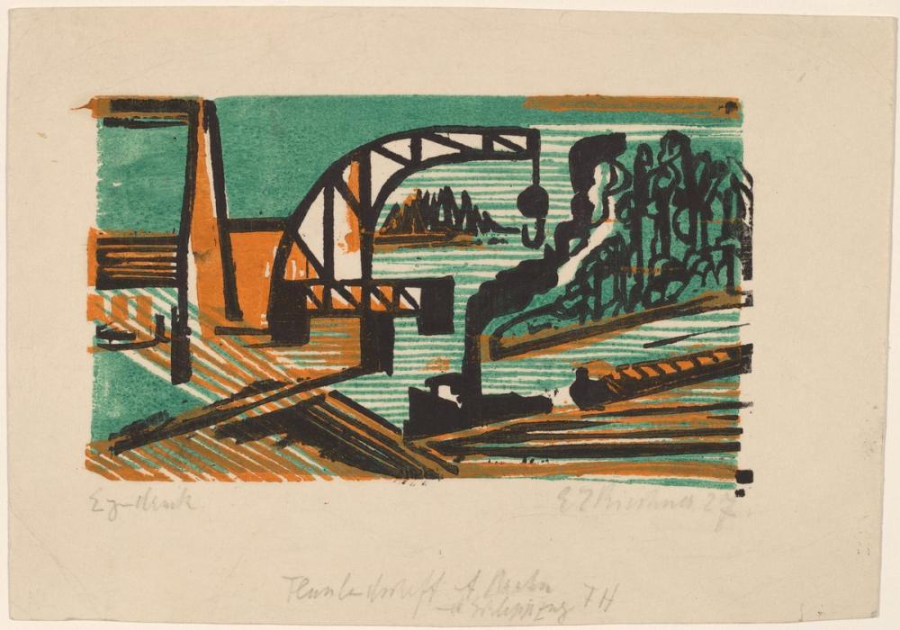 Ernst Ludwig Kirchner, River Landscape with Crane and Barges, Canvas, Ernst Ludwig Kirchner, kanvas tablo, canvas print sales