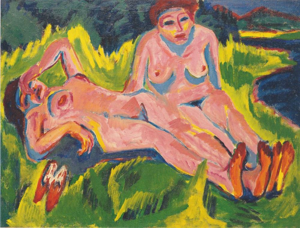 Ernst Ludwig Kirchner, Göl Kenarında İki Pembe Çıplak, Figür, Ernst Ludwig Kirchner, kanvas tablo, canvas print sales