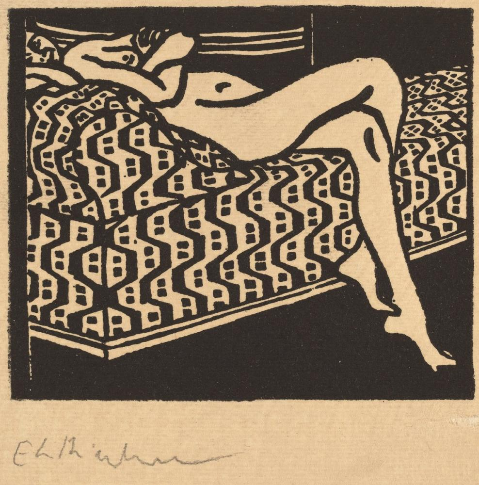 Ernst Ludwig Kirchner, Nude Girl Lying on a Sofa, Figure, Ernst Ludwig Kirchner, kanvas tablo, canvas print sales