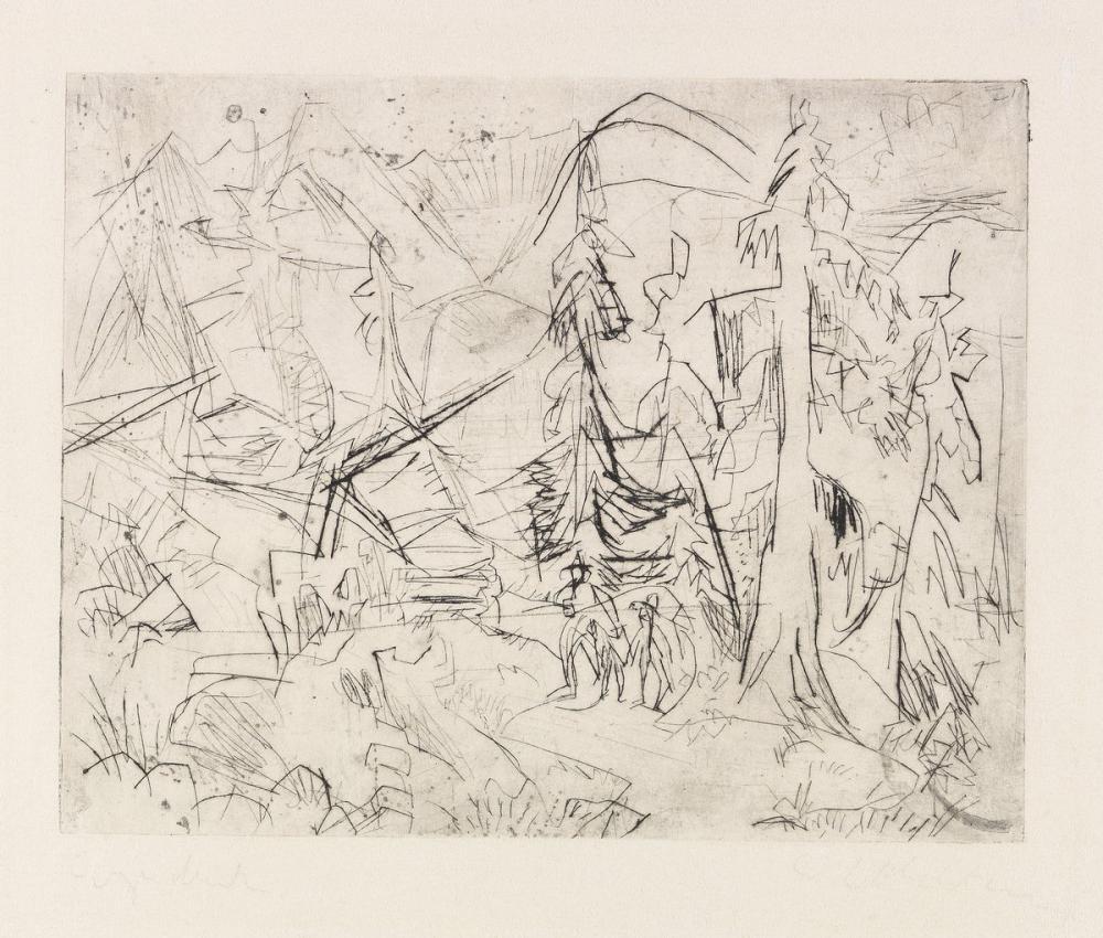 Ernst Ludwig Kirchner, Çam Ağaçları ve Kulübeleri, Kanvas Tablo, Ernst Ludwig Kirchner, kanvas tablo, canvas print sales
