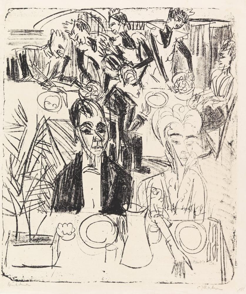 Ernst Ludwig Kirchner, Yemek Masası Sanatoryum, Figür, Ernst Ludwig Kirchner, kanvas tablo, canvas print sales