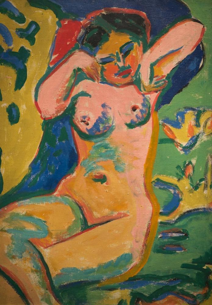 Ernst Ludwig Kirchner, Çiçekli Çayırda Kız, Figür, Ernst Ludwig Kirchner, kanvas tablo, canvas print sales