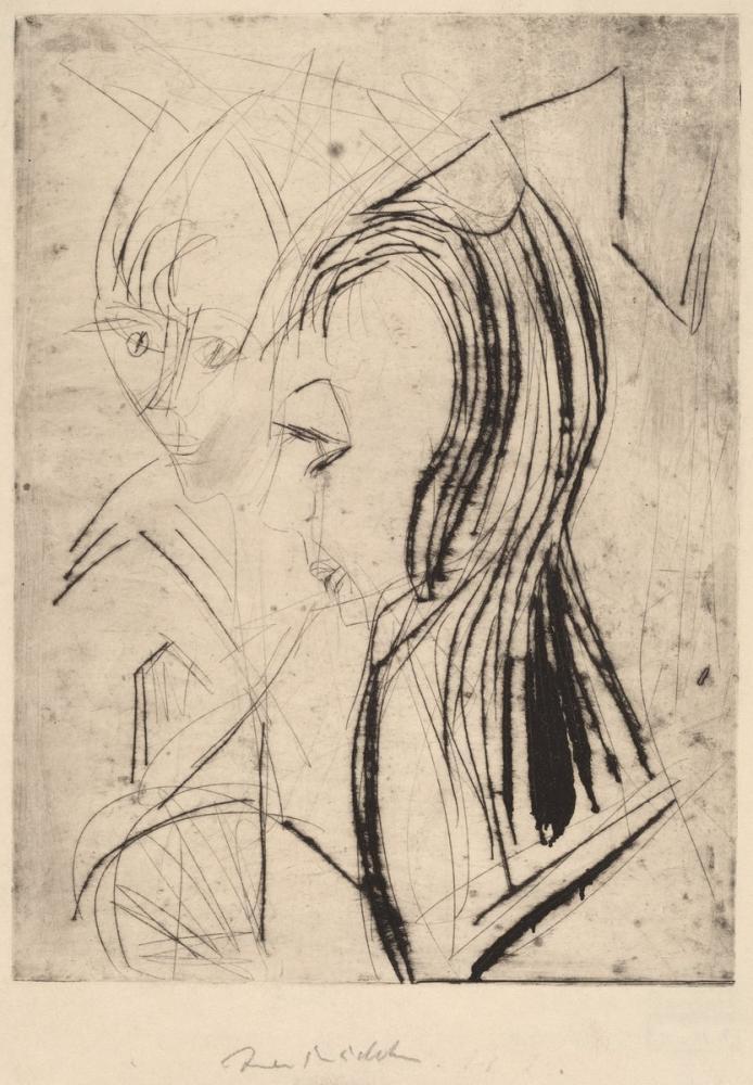 Ernst Ludwig Kirchner, İki Kızın Başı, Figür, Ernst Ludwig Kirchner, kanvas tablo, canvas print sales