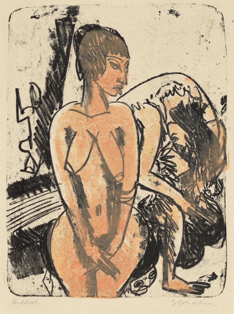 Ernst Ludwig Kirchner, İki Kadın, Figür, Ernst Ludwig Kirchner, kanvas tablo, canvas print sales