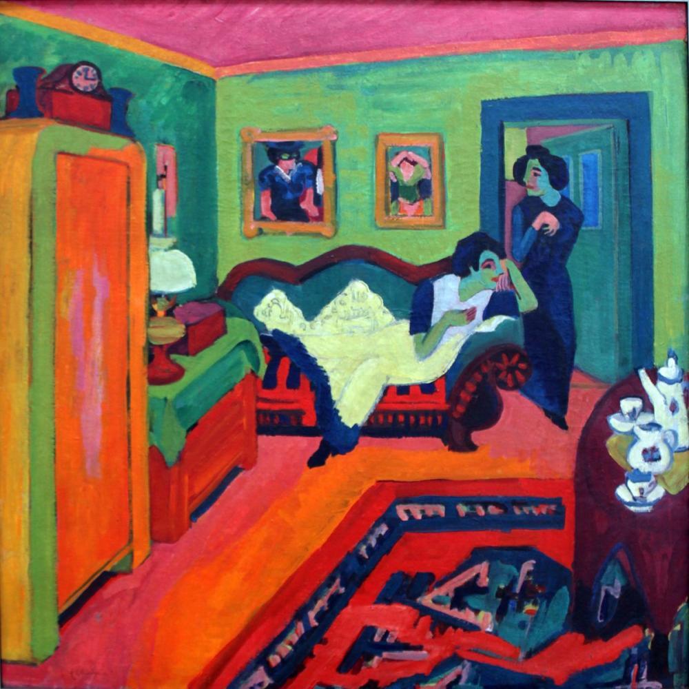 Ernst Ludwig Kirchner, Interieur mit zwei Maedchen, Figure, Ernst Ludwig Kirchner, kanvas tablo, canvas print sales
