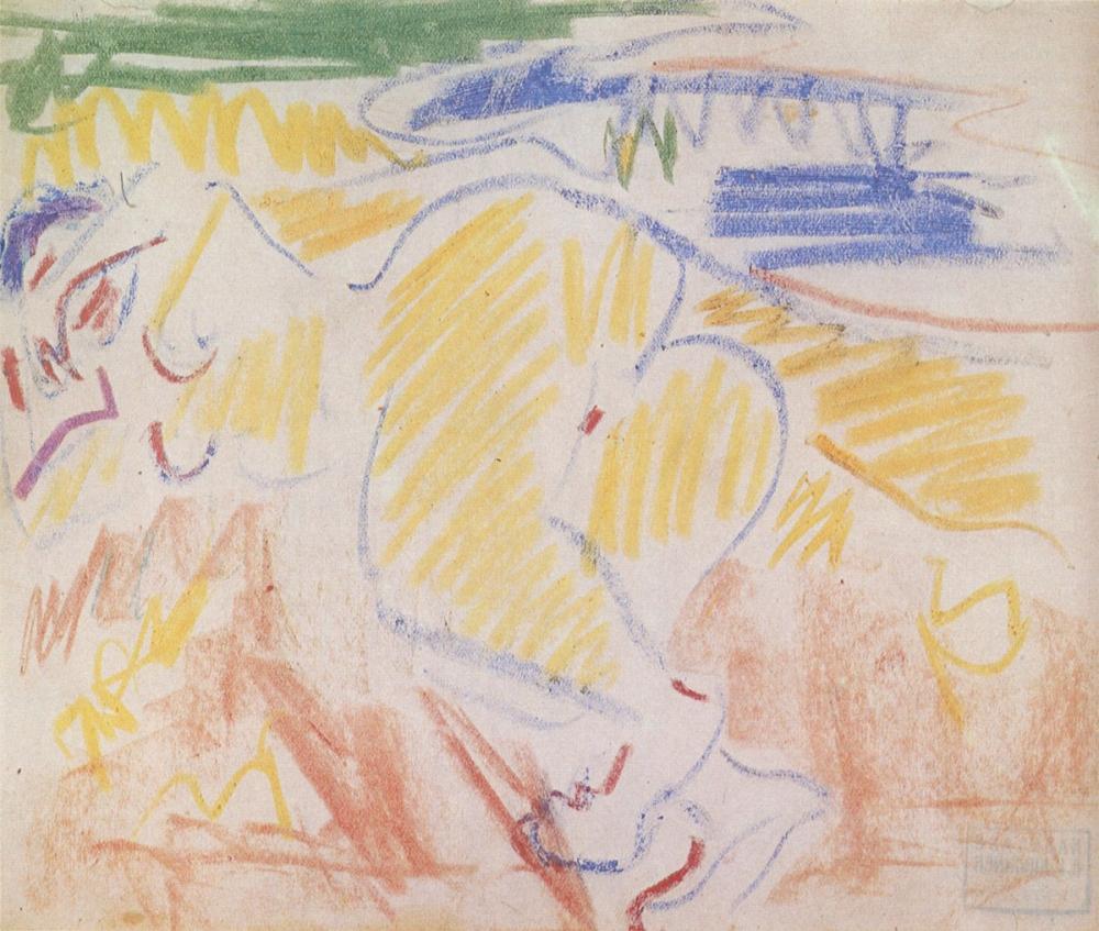 Ernst Ludwig Kirchner, Liegender Akt, Figure, Ernst Ludwig Kirchner, kanvas tablo, canvas print sales