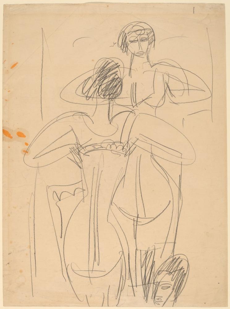 Ernst Ludwig Kirchner, Bir Ayna Önünde Kız, Figür, Ernst Ludwig Kirchner, kanvas tablo, canvas print sales