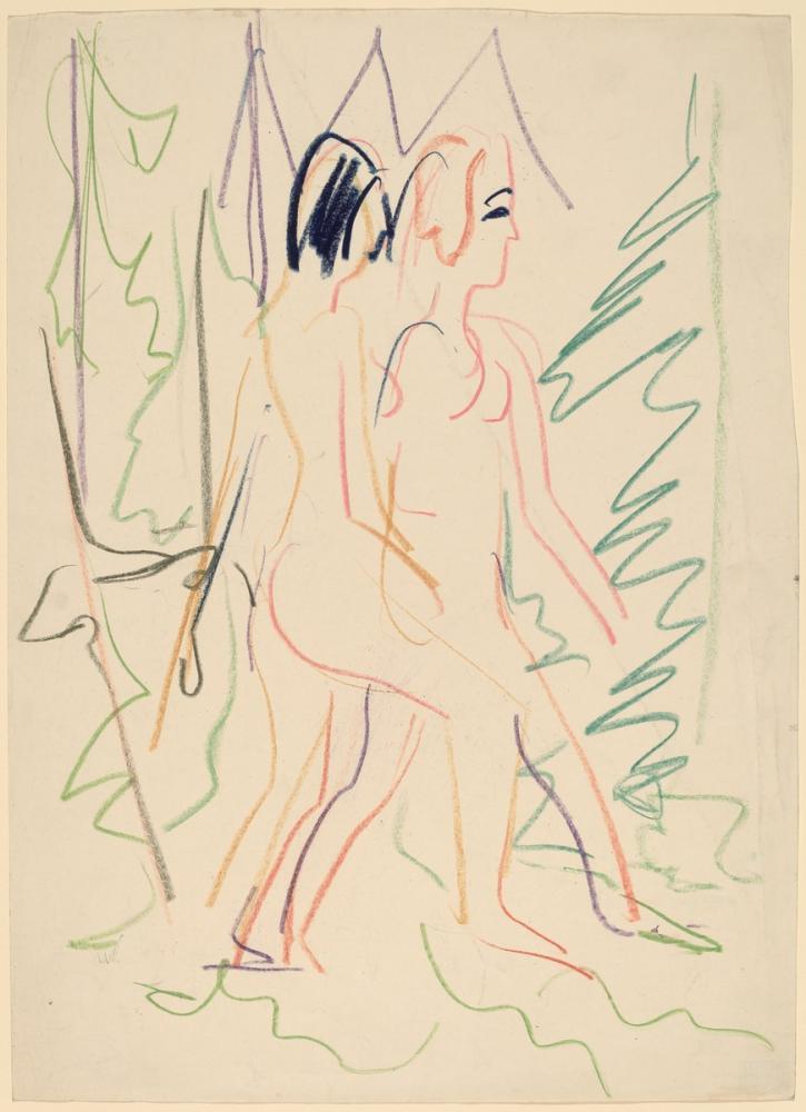 Ernst Ludwig Kirchner, Bir Ormanda İki Çıplak, Figür, Ernst Ludwig Kirchner, kanvas tablo, canvas print sales