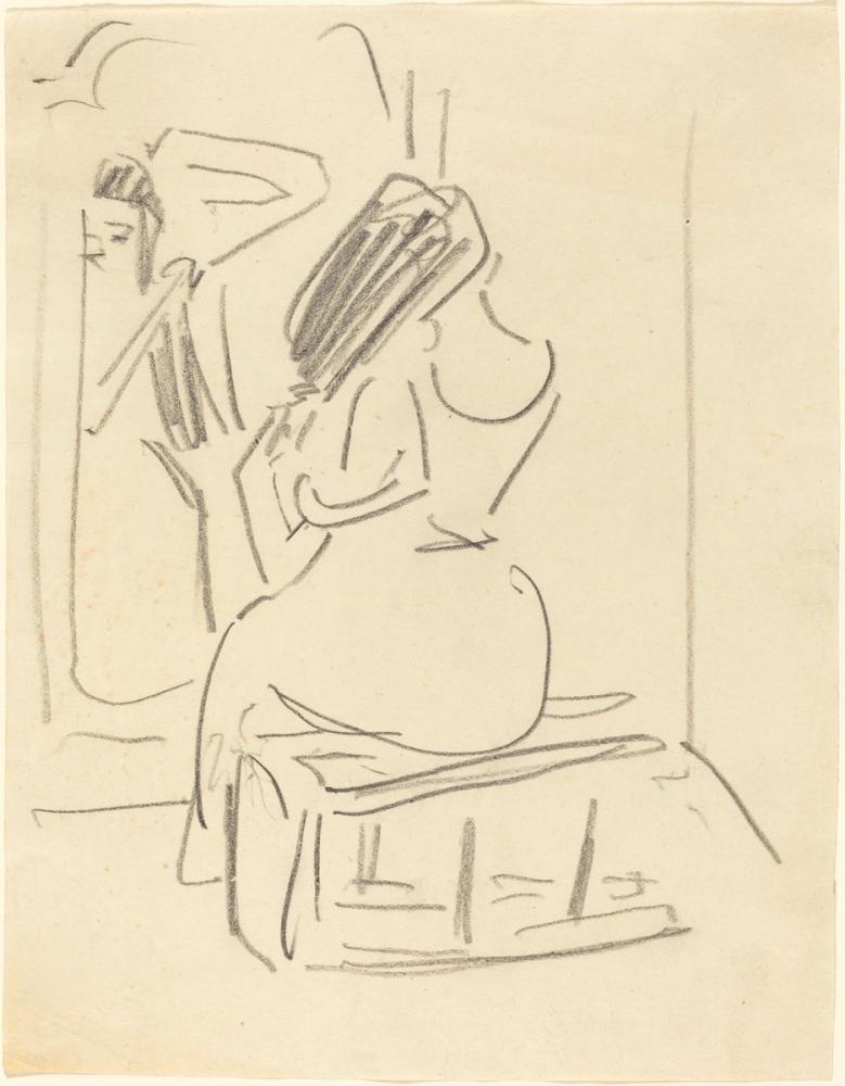 Ernst Ludwig Kirchner, Bir Aynanın Önünde Saçlarını Tarayan Bir Kadın, Figür, Ernst Ludwig Kirchner, kanvas tablo, canvas print sales