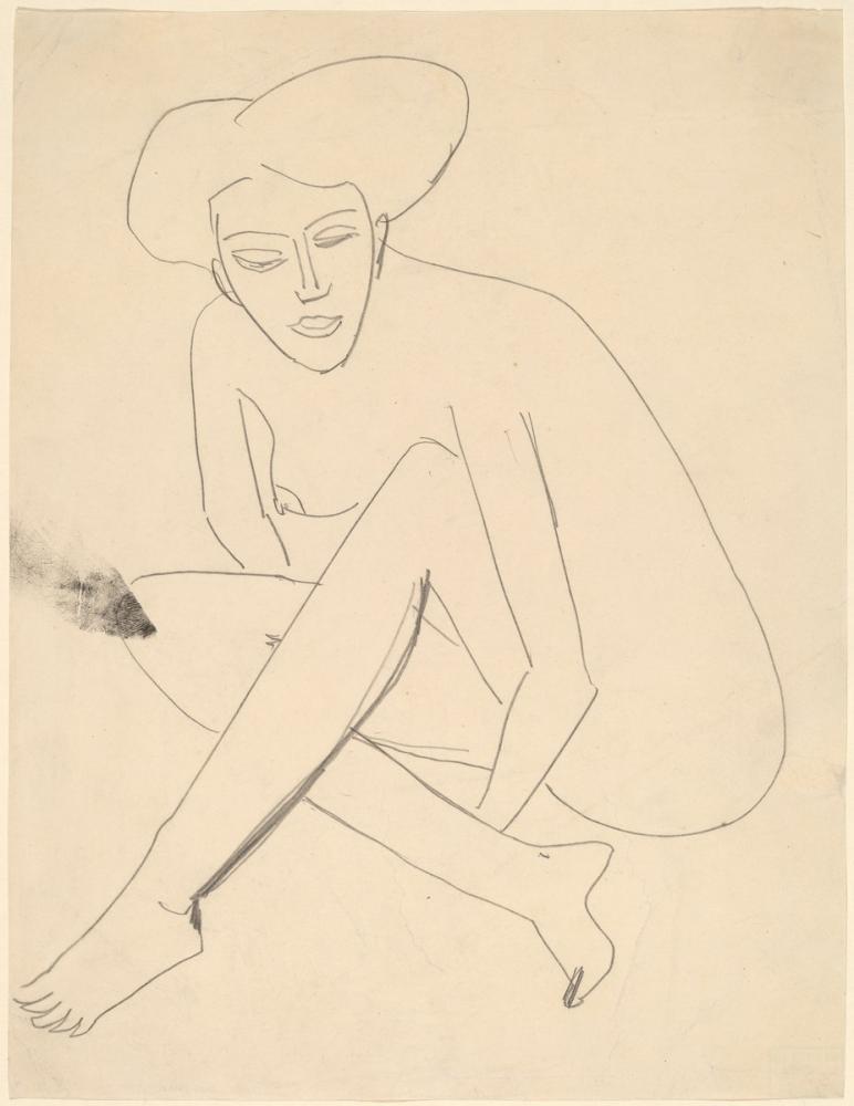 Ernst Ludwig Kirchner, Dodo Seated, Figure, Ernst Ludwig Kirchner, kanvas tablo, canvas print sales