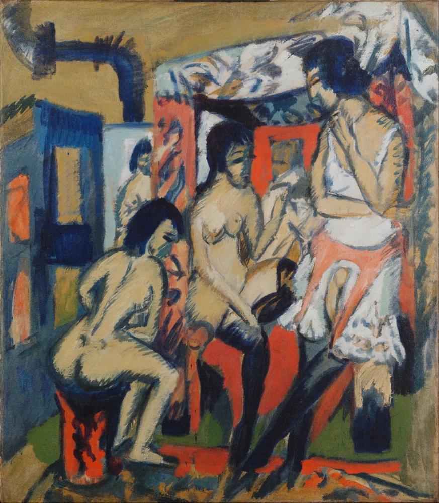 Ernst Ludwig Kirchner, Nudes in Studio, Figure, Ernst Ludwig Kirchner, kanvas tablo, canvas print sales