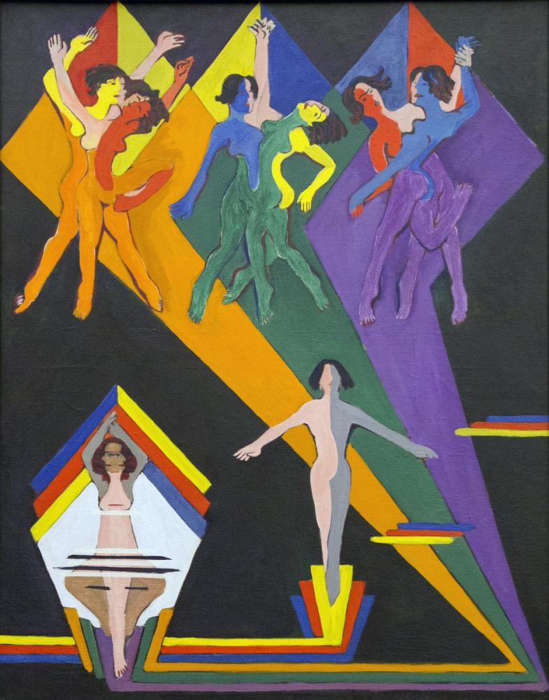 Ernst Ludwig Kirchner, Dancing Girls in Rays of Color, Figure, Ernst Ludwig Kirchner, kanvas tablo, canvas print sales