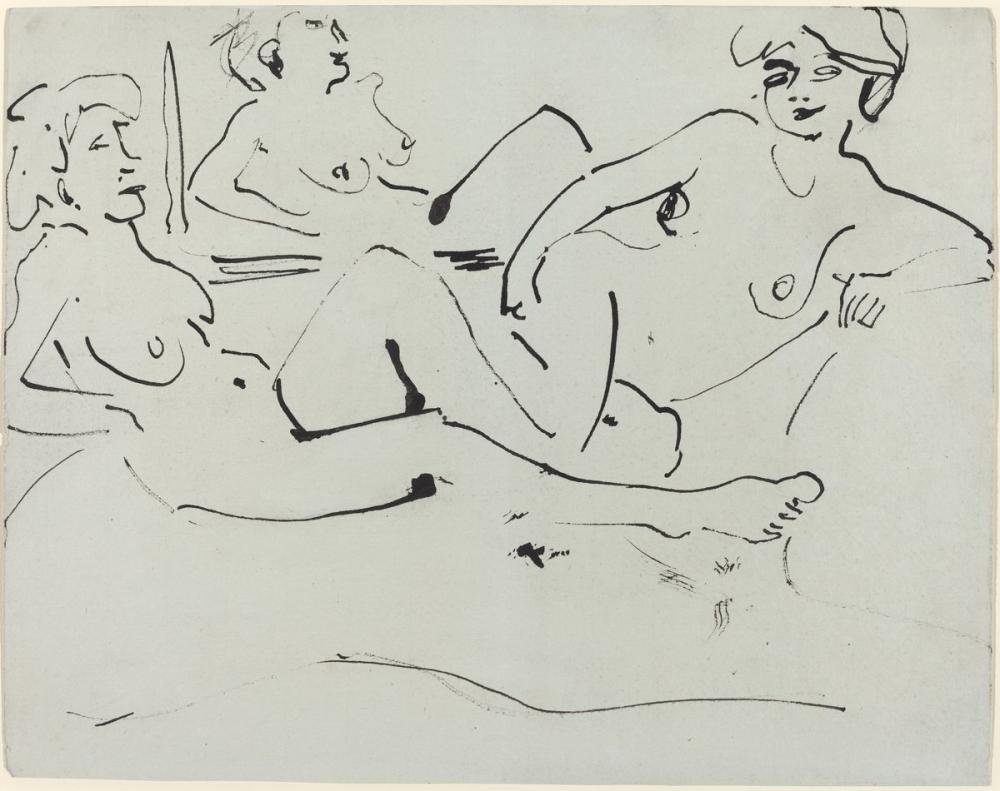 Ernst Ludwig Kirchner, Dodo ve Bir Ayna Önünde Uzanmış Yaşlı Bir Kadın, Figür, Ernst Ludwig Kirchner, kanvas tablo, canvas print sales