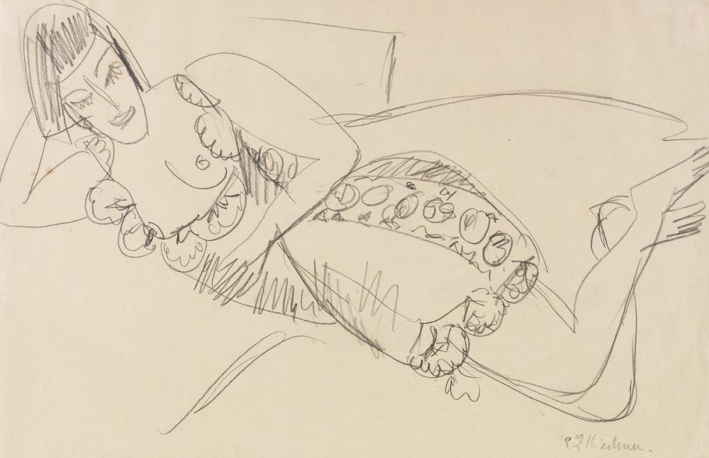 Ernst Ludwig Kirchner, Liegender Frauenakt, Figure, Ernst Ludwig Kirchner, kanvas tablo, canvas print sales